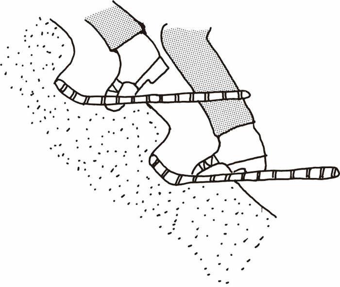 使用雪鞋进行踢步行走