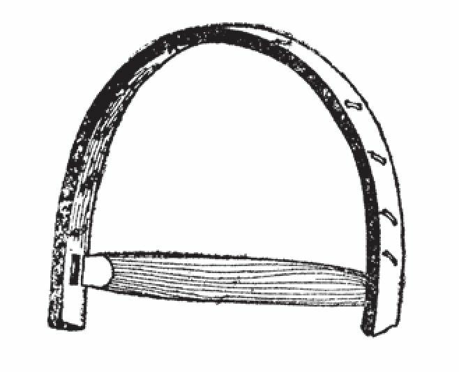 通过确定鞋框重心来确定横杆的位置,之后将横杆两端装在榫眼中。