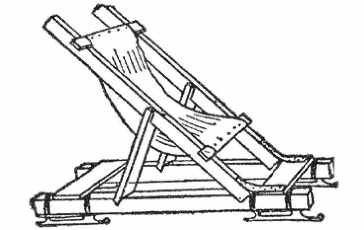 图5 展开的折叠椅雪橇