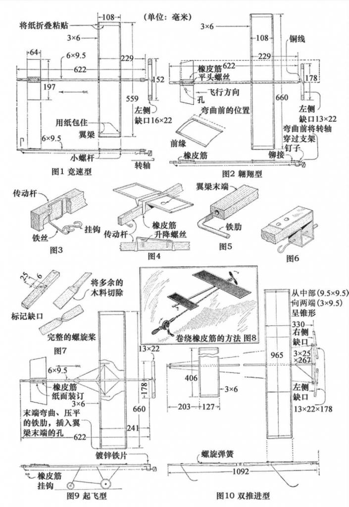 四种飞机模型均能够成功飞行,其特点使其易于制作。通过调整模型的机翼和升降舵可以控制飞机的飞行航线和高度。模型的动力主要源于橡皮筋。