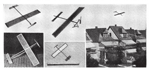 上左:翱翔型,带有两个额外的翼肋;上中:双推进型,滑行半径约183至244米;下左:翱翔型模型图片显示传动装置的安装方法;下中:与305毫米尺子进行对比的小模型,借助51毫米的螺旋桨进行驱动;下右:飞行中的飞机模型。