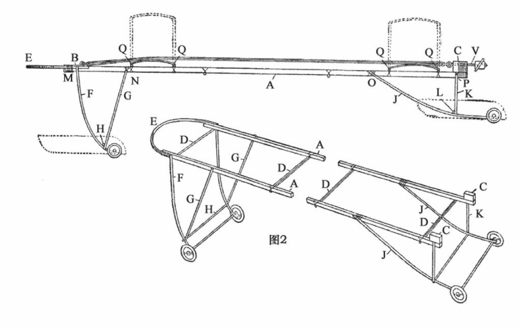起落架完全用竹制成,并连接在助推器框架的底部。