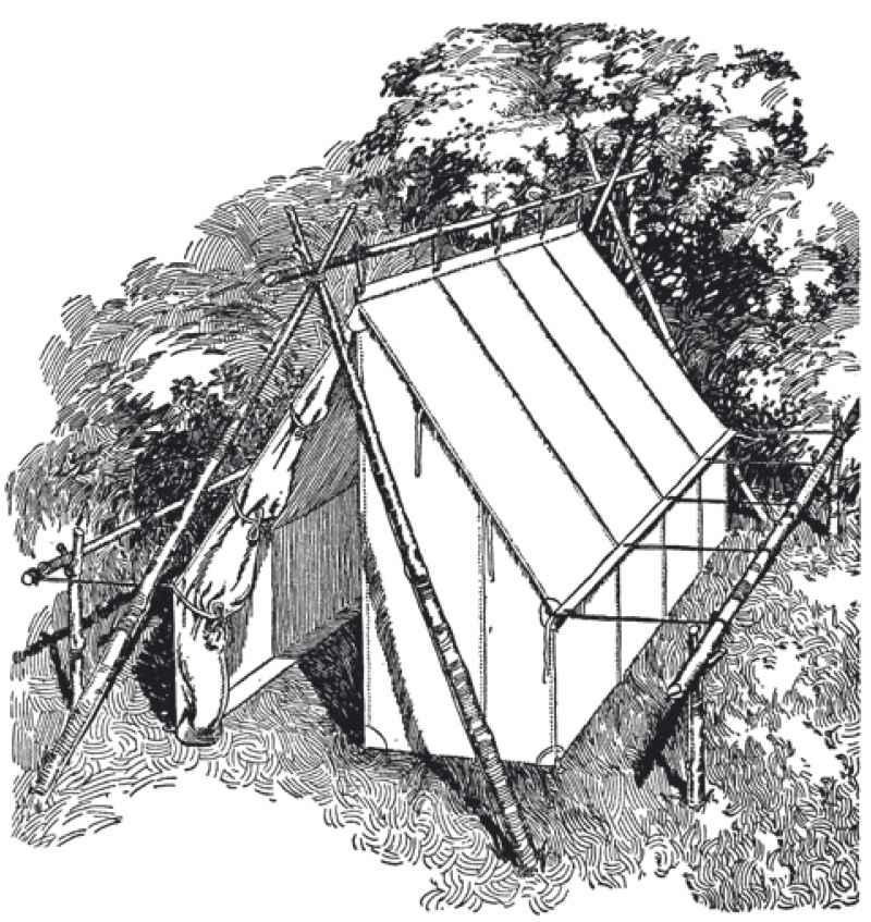 帆布墙帐篷可用规则的木杆竖立,或者把沿帐篷屋脊的带子固定在一根细长杆上,两端用三角架或剪刀形木杆固定。