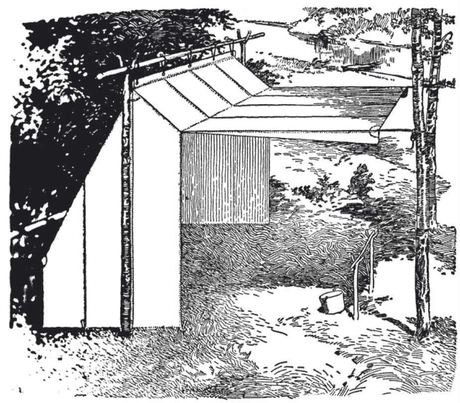 露营高手喜欢在宿营地切割木杆安装篝火帐篷。