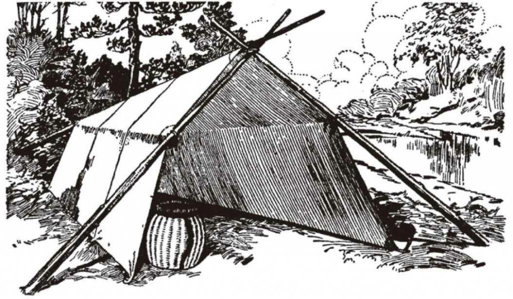 用三根小树杆就能很快建造一个林务官式帐篷,一根作为屋脊,开口两侧的树杆形成支持屋脊杆的交叉柱。
