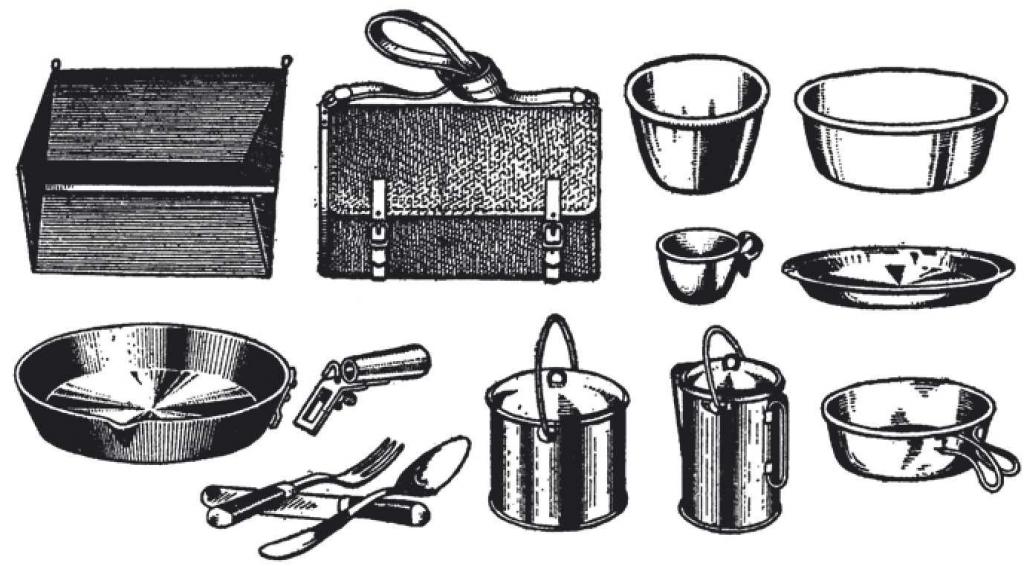 炊具用铝制品或铁制品,全部炊具叠放在最大的深锅内,包括带面包板的可折叠轻便烤箱或热反射器(置于帆布袋中),木制盐盒及放火柴的不漏水罐子。