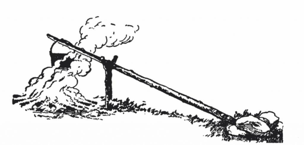 做午餐需要的挂锅可以放在置于有杈树枝上的青木杆的一端。