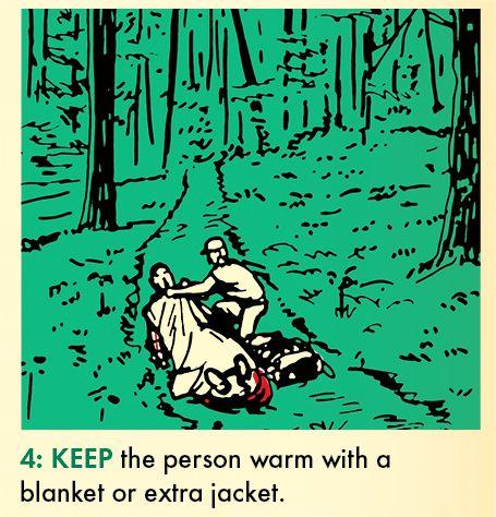 用毛毯或额外衣物保持受伤者温暖