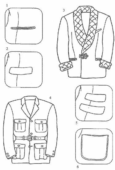 1.无兜盖直兜的范例      2.有盖衣兜的范例      3.室内夹克      4.撒哈拉上衣      5.带盖衣兜和放车票衣兜      6.贴兜